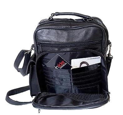 Amazon.com: mylux piel de alta calidad Multi bolsillos de ...