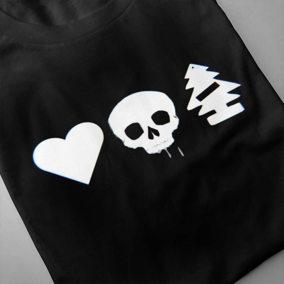 SHENGN Mens Print Casual Helping Hand Love Death Robots Logo Short Sleeve New T-Shirts Black