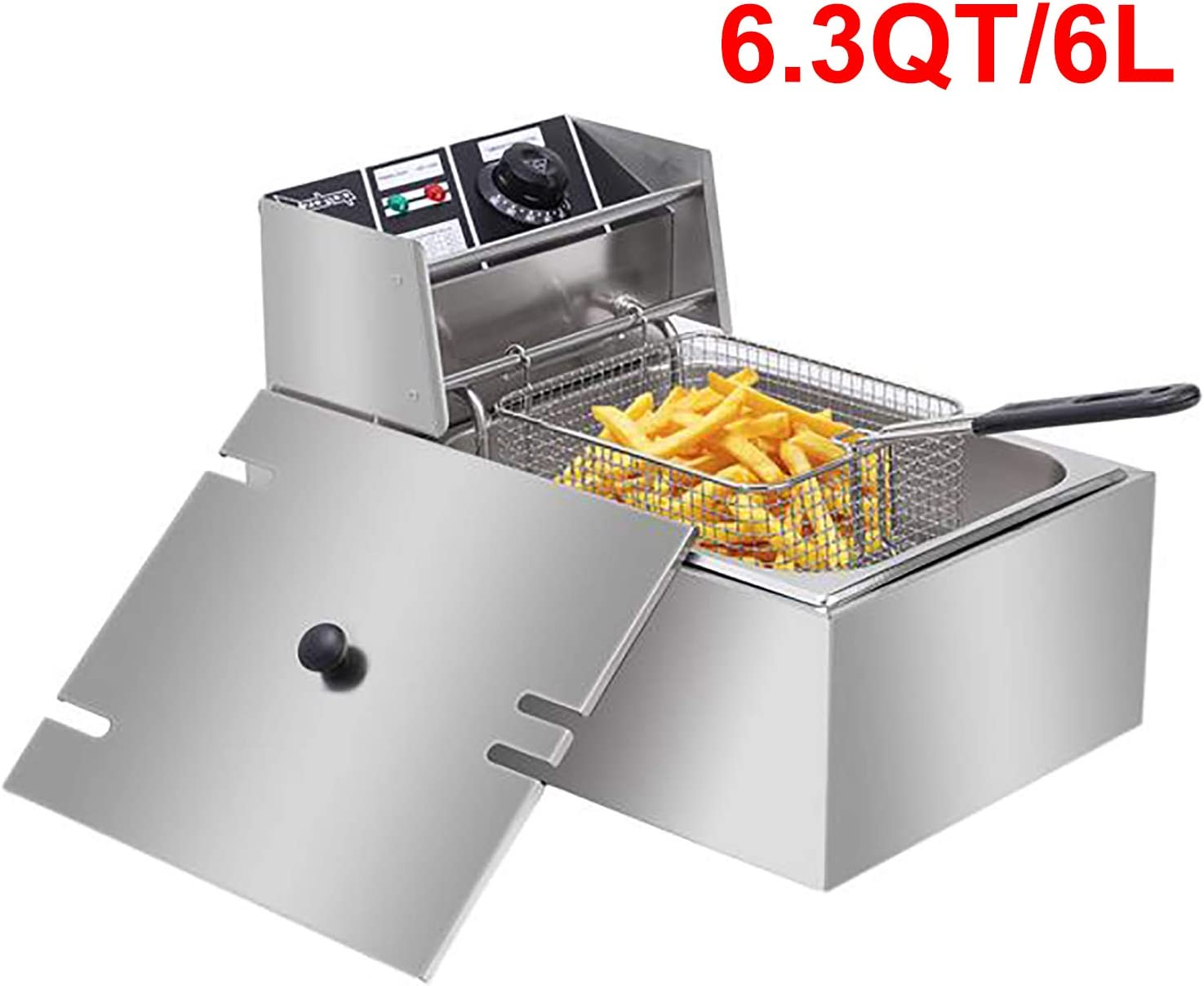 Deep Fat Fryer 6L Chip Pan With Basket Fry Food Stainless Steel 2500W Non-Stick