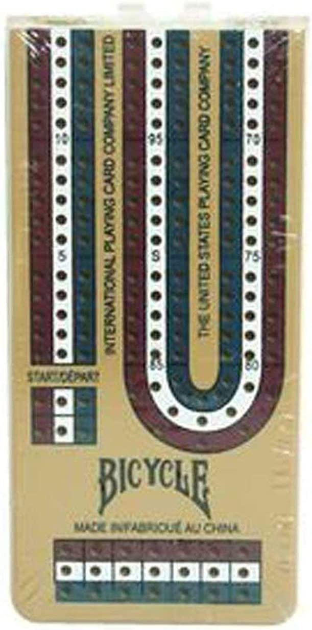 Bicycle Folding Cribbage Board 12-3 Track with Pegs /& Instructions