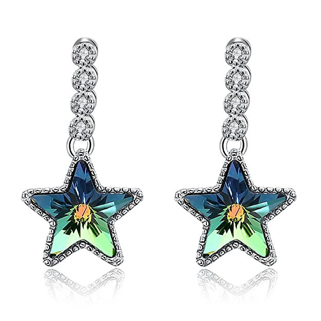 KNKNKN LEKANI S925 Sterling Silver Star Charm with Swarovski Elements Crystal Aurora Borealis Star Drop Earrings