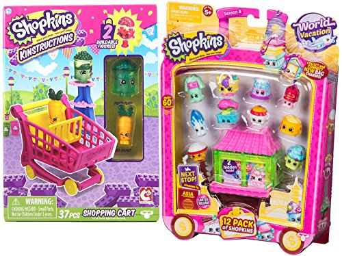 Chinese Food Delivery Costume (Shopkins Food Figures Season 8 World Vacation (Asia) 12pk + Shopkins Kinstructions Shopping Cart Buildable Figures 2-pack bundle)