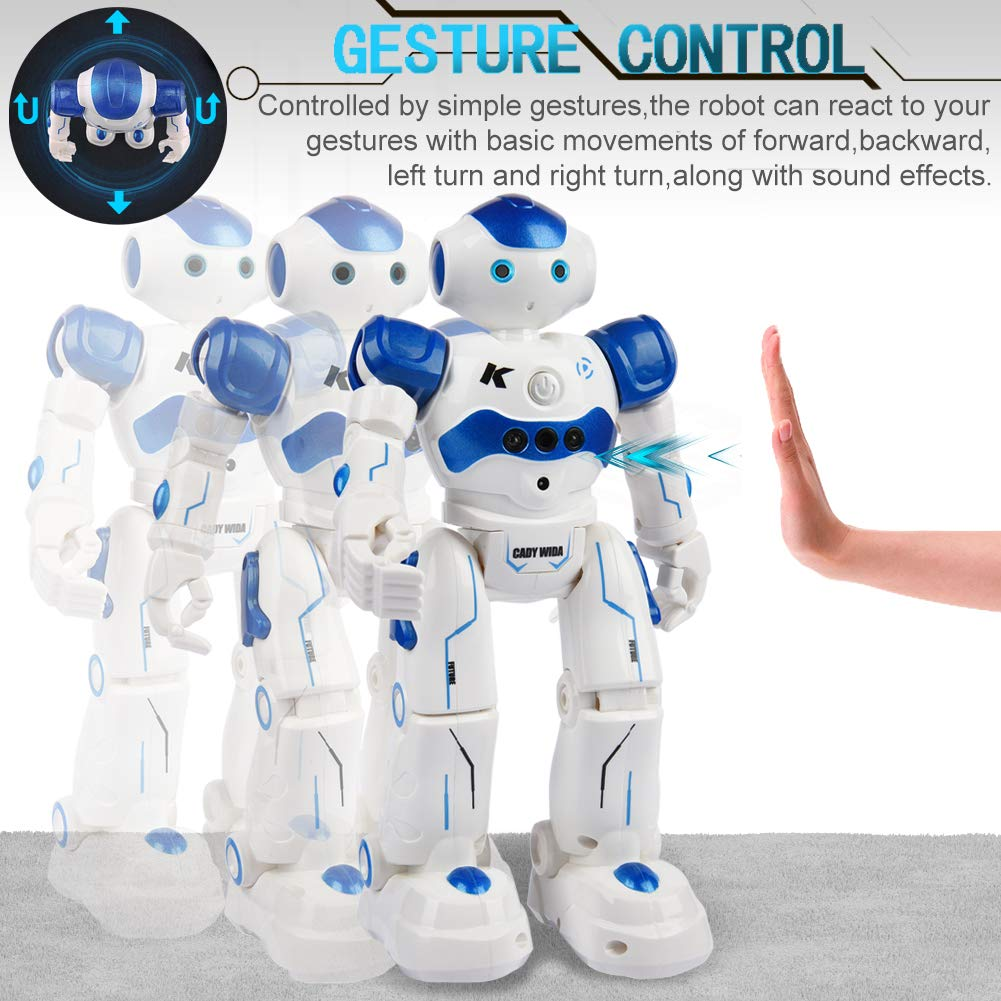 Yoego Remote Control Robot, Gesture Control Robot Toy for Kids, Smart Robot with Learning Music Programmable Walking Dancing Singing, Rechargeable Gesture Sensing Rc Robot Kit (Blue) by Yoego (Image #4)