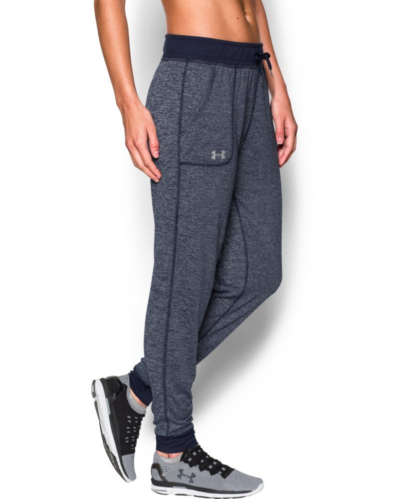 Under Armour Women's Twisted Tech Pant, Midnight Navy/Metallic Silver, Large