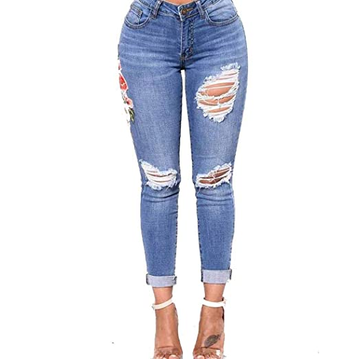 2be1a09e079fe Kehen New Women Jeans Clearance! Womens Skinny Slim Corner Pants  Embroidered Small Feet Elastic Jeans Trousers at Amazon Women s Jeans store