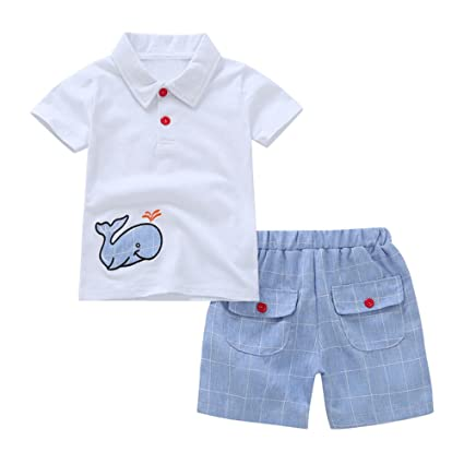 743e0d60c7ed Hot Sales! Toddler Baby Boy Cartoon Embroidery Whale Short Sleeve T-Shirt  Plaid Shorts