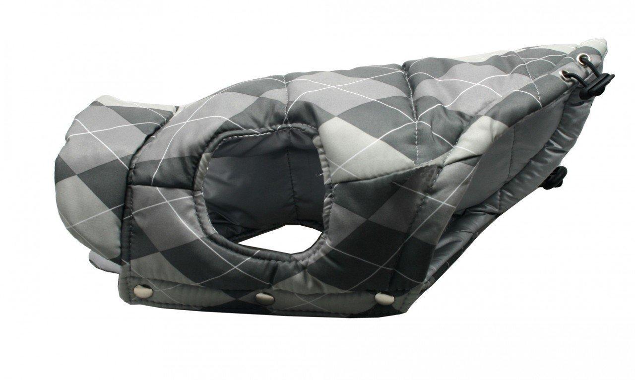 Hip Doggie HD-5RPVSA-L Reversible Puffer Vest, Silver Argyle, Size L