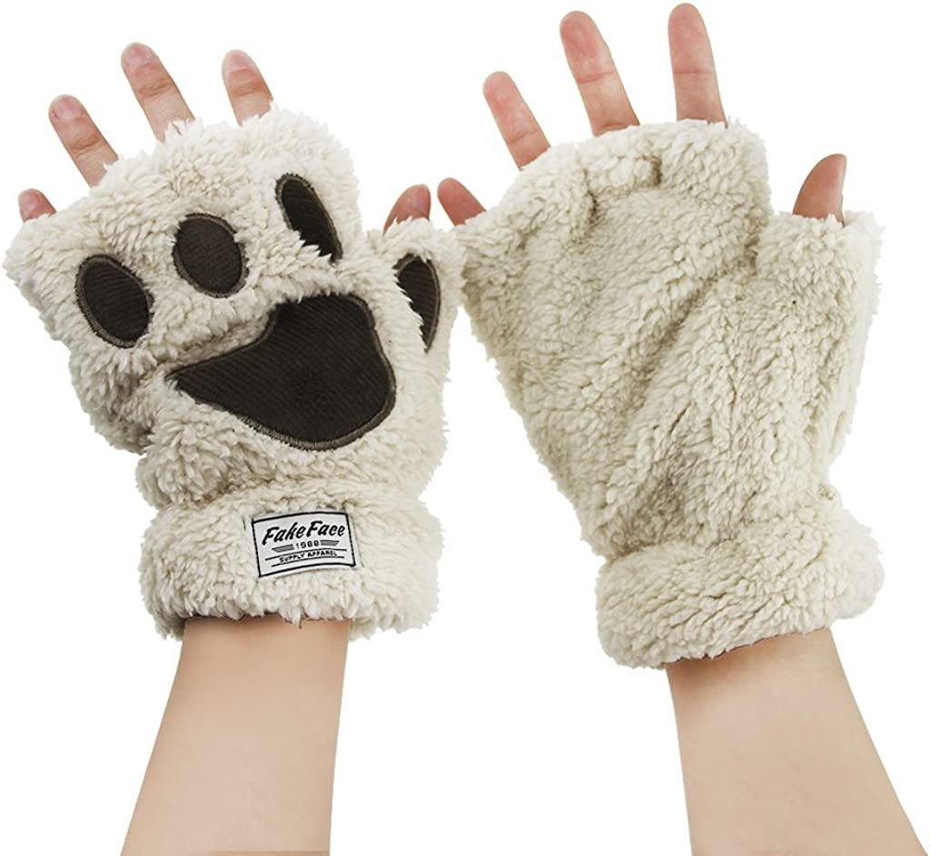 Zebra Print Fingerless Paw Gloves Faux Fur Pink One Size Fits Most