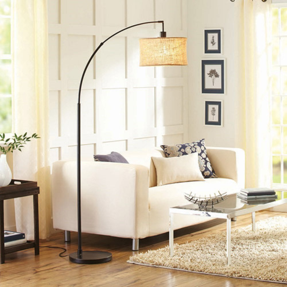 BHG Burlap and Metal Arc Floor Lamp with CFL Bulb, Bronze ...