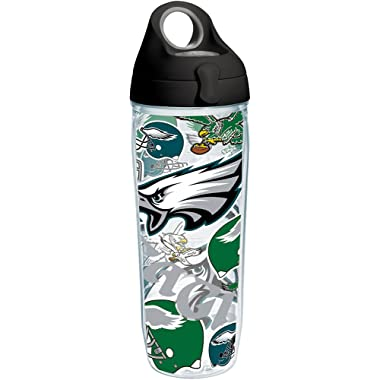 Tervis 1248049 NFL Philadelphia Eagles All Over Tumbler with Wrap and Black with Gray Lid 24oz Water Bottle, Clear