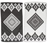 Bersuse 100% Cotton - Yucatan Turkish Towel - Bath Beach Fouta Peshtemal - Aztec Navajo Tribal Bohemian - Dual-Layer Handloom Pestemal - 39X71 Inches, Black (Set of 6)