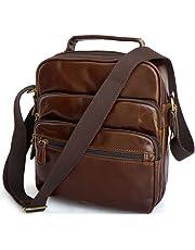 Genda 2Archer Men's Leather Crossbody Bag Shoulder Messenger Bag One Size Coffee