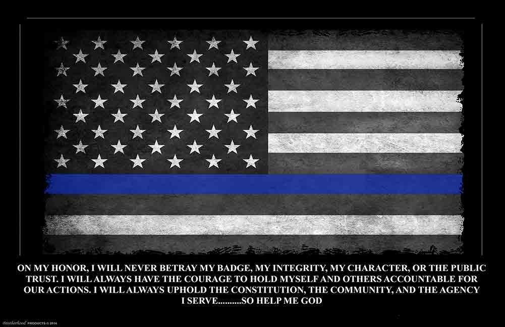 Brotherhood Police Gift - Thin Blue Line Oath of Office American Flag Poster - Police Academy Graduation Gift Brotherhood® Products