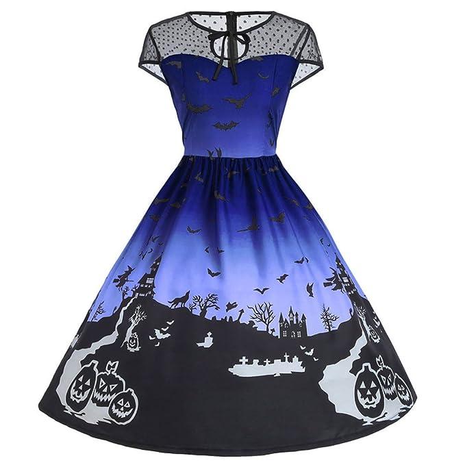 iBaste Halloween Vestido Mujer 3D Stereo Encaje Seams Vestidos Estampados