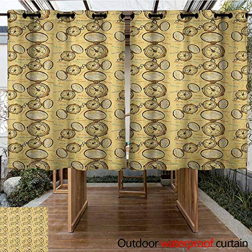 (AndyTours Custom Outdoor Curtain,Compass,London Moscow Paris Sydney Traveling Around The World Theme Illustration,for Patio/Front Porch,K183C115 Mustard Multicolor)