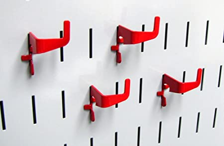 Red Wall Control Pegboard Standard Slotted Hook Pack Slotted Metal Pegboard Hooks for Wall Control Pegboard and Slotted Tool Board