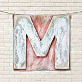 smallbeefly Letter M Hand Towel Old Wood Capital Letter M Natural Worn Out Look Texture Language Image Quick-Dry Towels Coral White Cream Size: W 20'' x L 31''