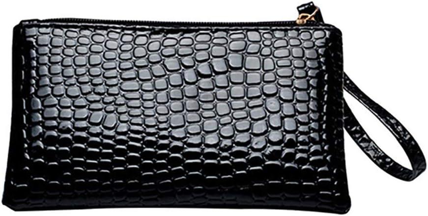 SoundsBeauty Faux Leather Alligator Pattern Clutch Mini Handbag Long Wallet Phone Cosmetics Storage Holder Bag Black