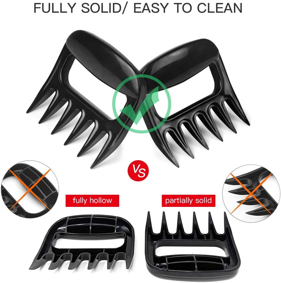 Opaceluuk BBQ Bear Claws for Pulled Pork, BBQ Meat Shredder Claws, Grill Smoker Bear Meat Paw Claws, Smoked Barbecue Grilling Accessories (Black) Upgraded 61ZcyJiKfgL