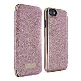 Official Ted Baker SS17 Folio Style Case for Apple iPhone 7 - Fashion Branded Mirror Case in Sprinkling of Sparkle Illuminates for Professional Women - GLITSIE - Rose Gold