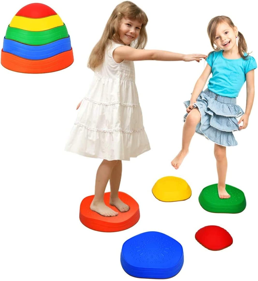 Costzon Kids Balance Stepping Stones, Set of 5 Silicone Non-Slip Stackable Wave Blocks, Portable Balance Blocks for Exercise Balance & Coordination, Rainbow Crossing River Stone for Indoor Outdoor