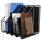 Heavy Duty 4 Compartment Black Metal Mesh Office Desktop Document & File Organizer Rack / Magazine Holder