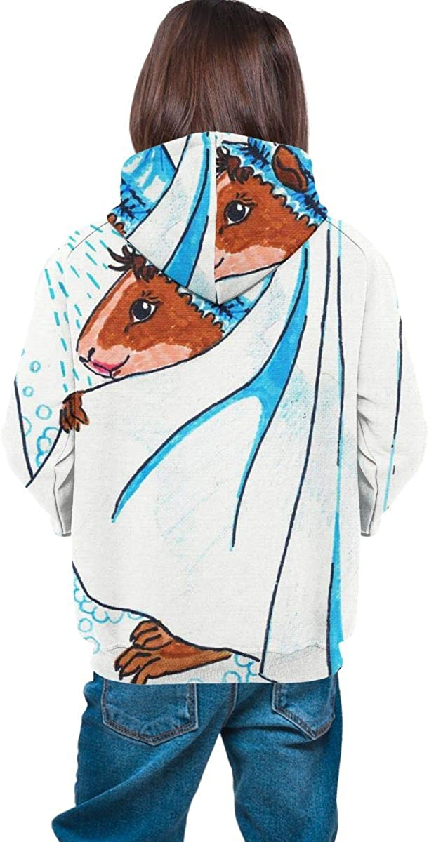 The Guinea Pig is Taking A Shower Watercolor Men 3D Print Pullover Hoodie Sweatshirt with Front Pocket
