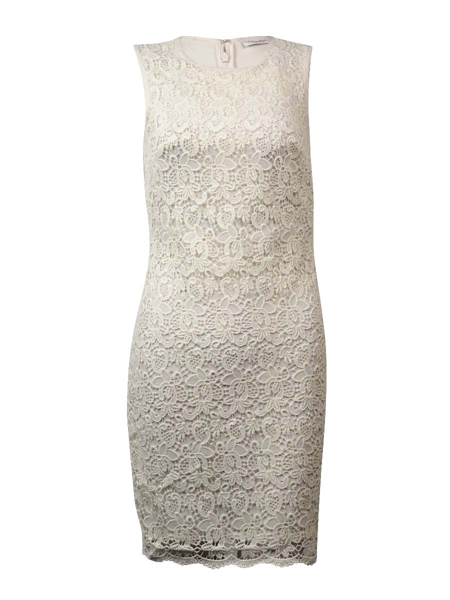 Calvin Klein Women's Sleeveless Floral Lace Stretch Sheath Dress (20W, Cream)