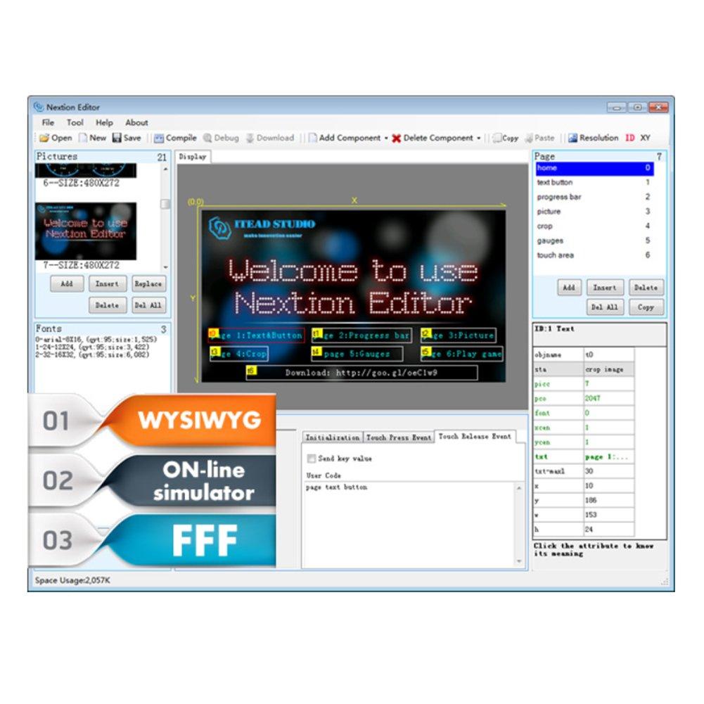 UNIKEL NX3224T028 Nextion 2.8 HMI Smart LCD Display ModuleTFT Touch Panel for ESP8266 2.8