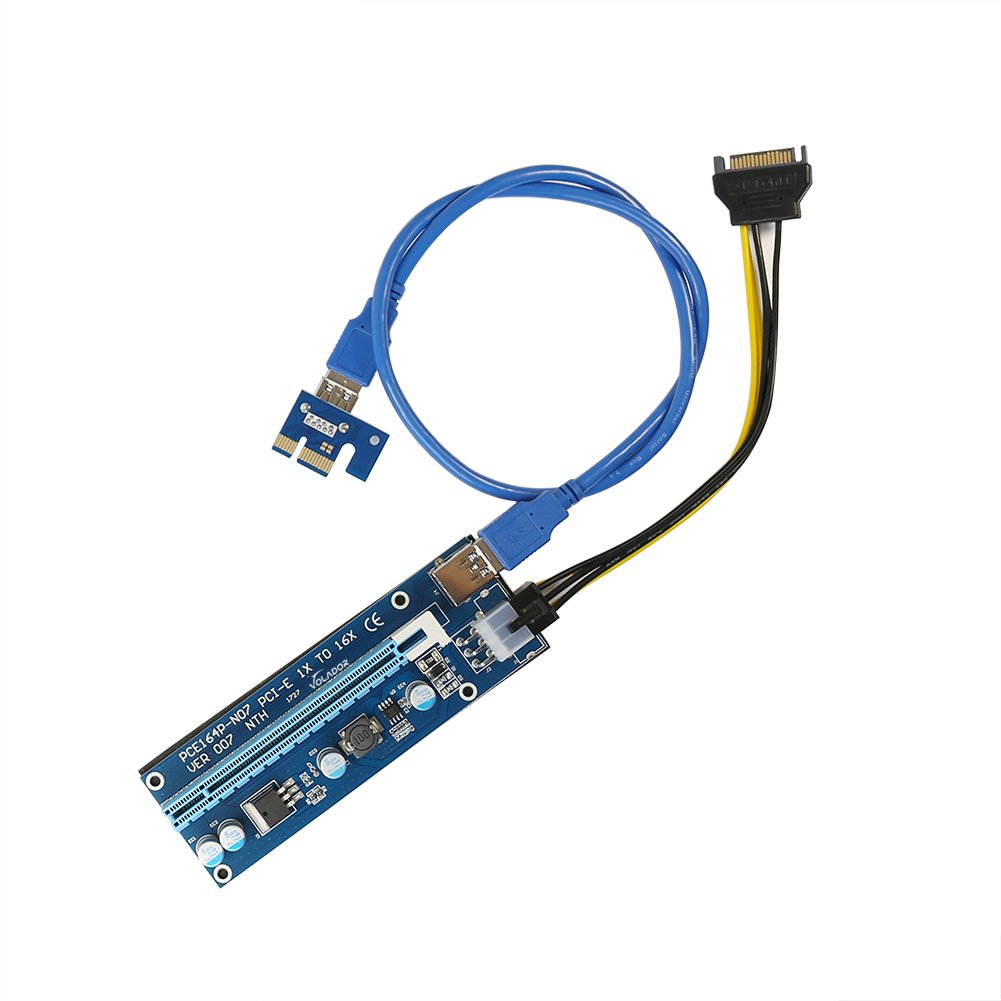 PCIe Riser, VOLADOR VER 007 PCI Express 1x to 16x Powered Riser Adapter Card - 0.6M USB 3.0 Extension Cable – 6 Pin PCI to SATA Power Cable - Ethereum Bitcoin Mining - 6 PCs by VOLADOR (Image #6)