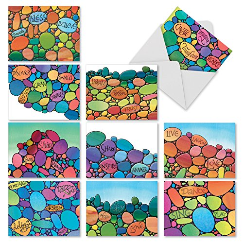 M3321 Written In Stone: 10 Assorted Blank All-Occasion Note Cards Featuring Colorful Pebble-Like Illustrations Enhanced With Inspirational Words, w/White Envelopes. Collection Featuring Stone