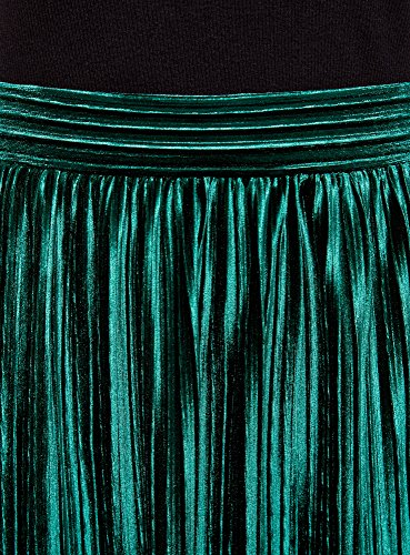 Oodji Verde Pliegues Mujer Con Collection 6d00n Falda fwqHfBF