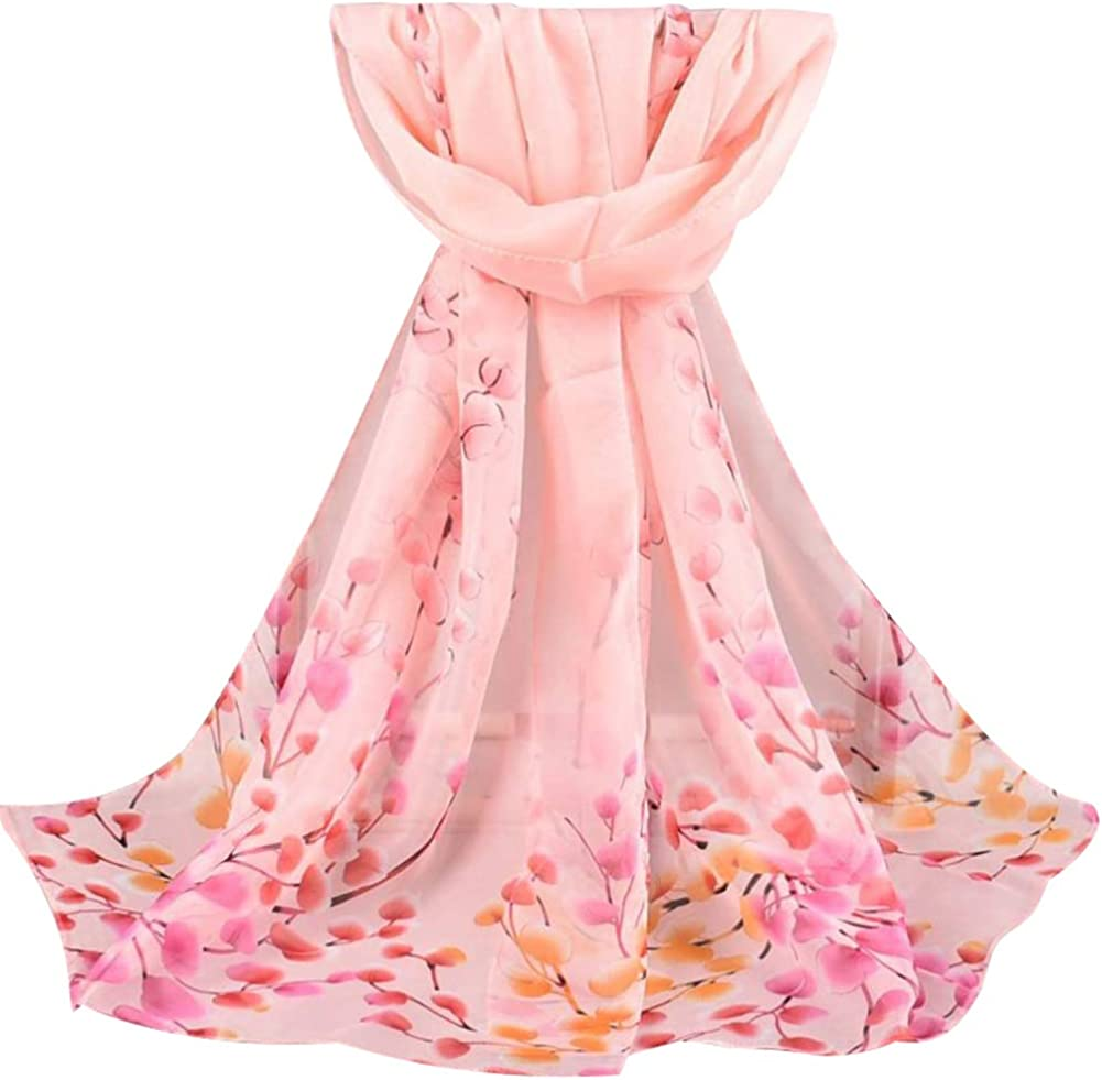 UTUT 5Pcs Chiffon Scarf Fashion Women Soft Blossom Printed Long Shawl Soft Wrap Chiffon Scarves Gift Purple