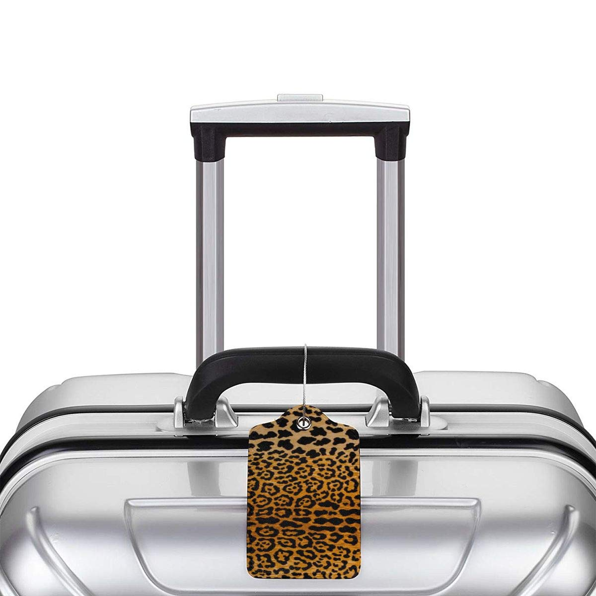 Leopard Print Travel Luggage Tags With Full Privacy Cover Leather Case And Stainless Steel Loop