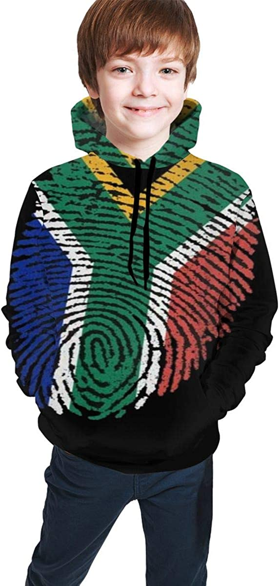 NTQFY Hooded Sweater for Boys Girls South African Flag Fingerprint Warm Coat Soft Pullover Hoodie Sweatshirt