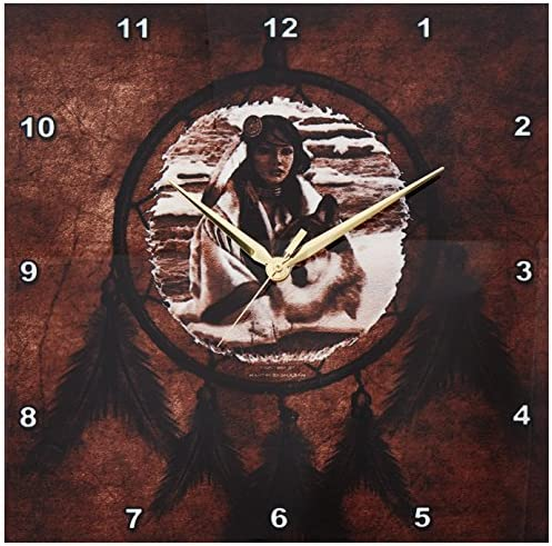 3dRose DPP_52256_2 Brown Native American Wolf Based on a Painting by Martin Basmajian Wall Clock, 13 by 13