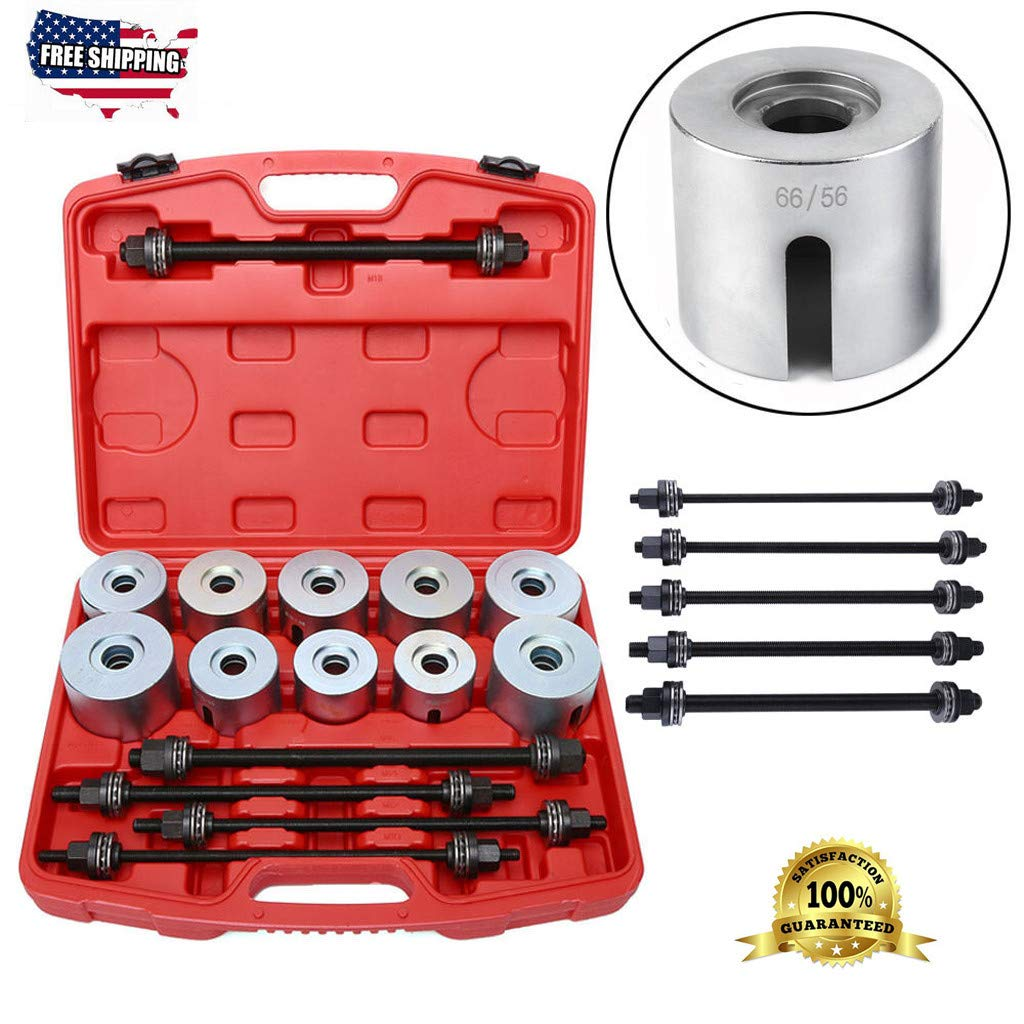 27pc Universal Press And Pull Sleeve Kit,Manual Bushing Installation Removal Set, Bush Bearing Removal Insertion Sleeve Tool,with 5 Pulling Spindles and Nuts,For Bushes, Bearings And Seals