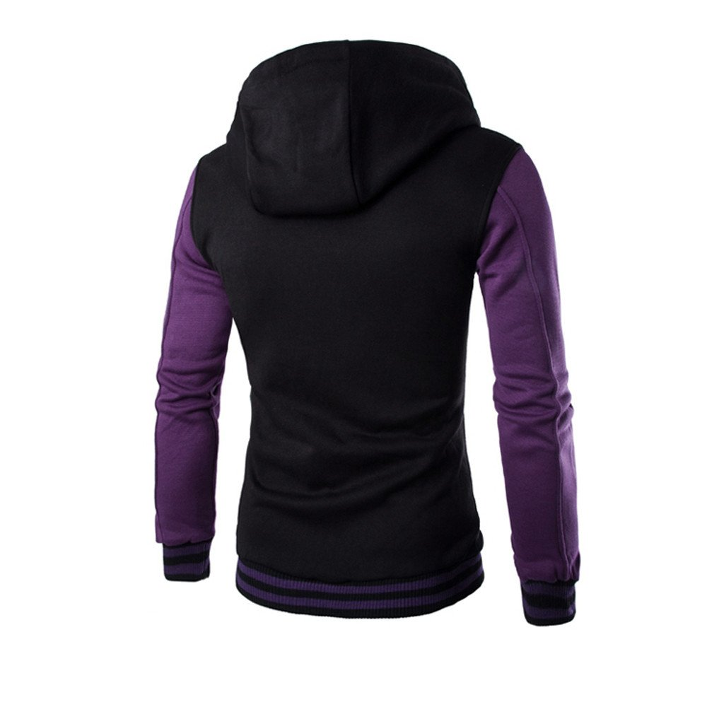 OSTELY Mens Hoodie Autumn Winter Hooded Patchwork Long Sleeve Fitted Coat Warm Sweatshirt Top Outwear