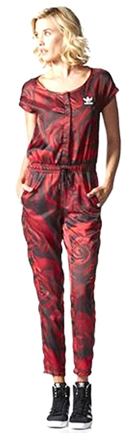 Amazoncom Adidas Originals Womens Red Clash All In One Jumpsuit