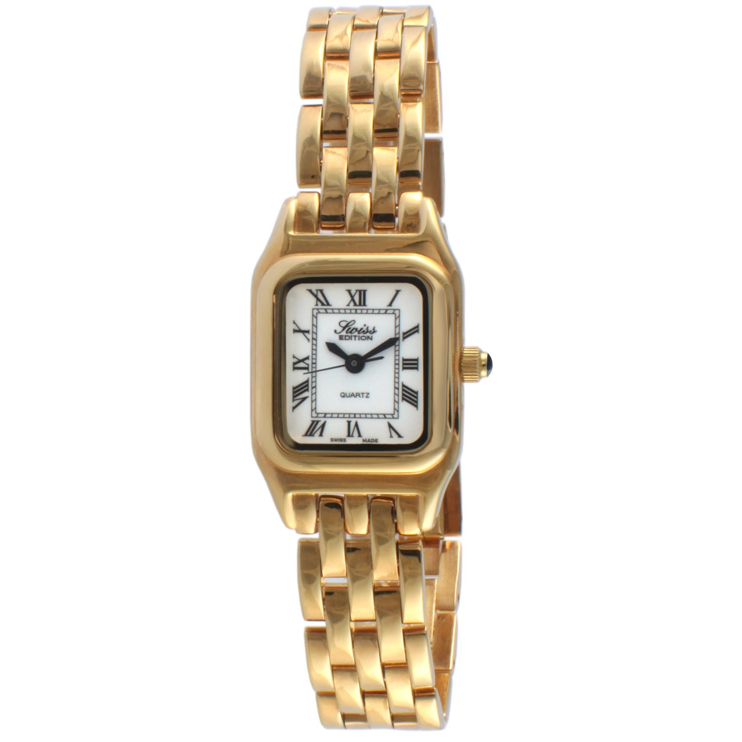 Swiss Edition Women's Square Tank Luxury 23K Gold Plated White Roman Numeral Dial Dress Watch SE3802-G
