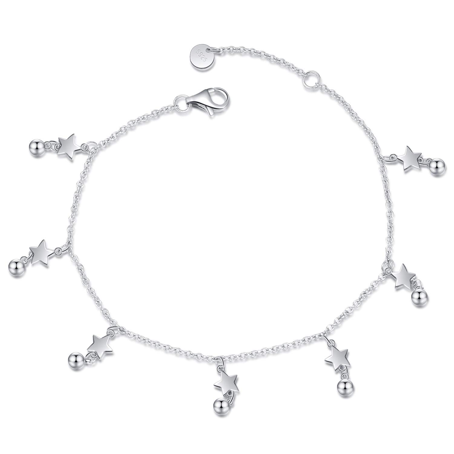 LUHE Star Anklets for Women Teen Girls Sterling Silver Simple Polished Bead Star Anklet Jewelry Beach Anklets,Holiday Jewelry