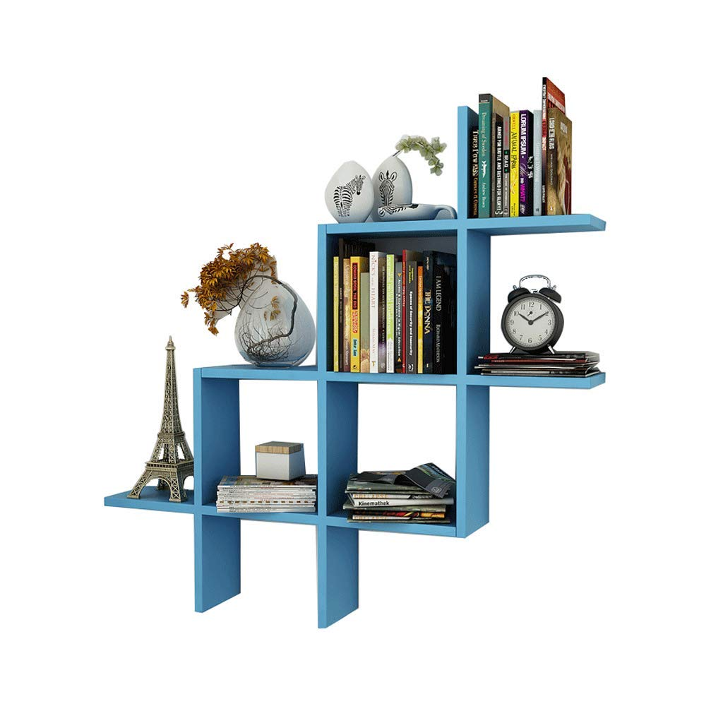 壁収納ラック クリエイティブフローティングシェルフディスプレイブックシェルフウォールデコレーションストレージラックのキッズルームのリビングルームの寝室 UOMUN (色 : 青) B07L744HLW 青