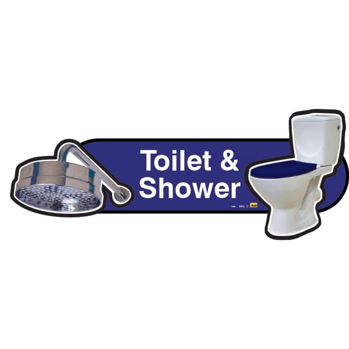 Schild mit blauem Sitz, Aufschrift Dementia Friendly Toilet and Shower, 300 mm breit, mit Schraubbefestigung, Blau