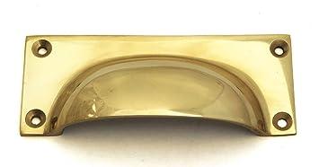 solid brass rectangular drawer pull cupboard door handle 10cm