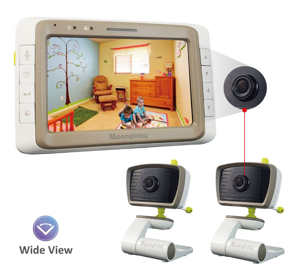 MoonyBaby Split Screen, Wide Angle, 2 Cameras Video Baby Monitor with 5 inches Screen, Automatic Night Vision, Temperature Monitoring, 2 Way Talkback by moonybaby
