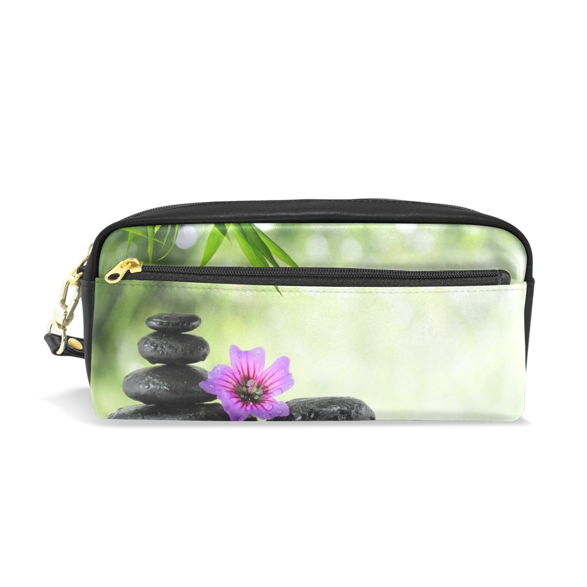 Pencil Holders,DEYYA Green Spa PU Leather Pencil Case Large Capacity School Pen Pouch Dual Use Pen Bag Makeup Pouch for Students or Women