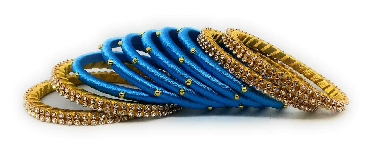Sai Blue Colour Handmade Silk Thread Bangles Set for Women and Girls Traditional Bridal Jewellery Sets with Stone Work Zircon Metal Bracelet (Pack of 10 Bangle) (B07MHXW8DJ) Amazon Price History, Amazon Price Tracker