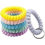BIHRTC 6 Color Wrist Keychain Plastic Spring Flexible Spiral Wrist Coil Stretchable Wristband Spiral Key Chain Bracelet Key H