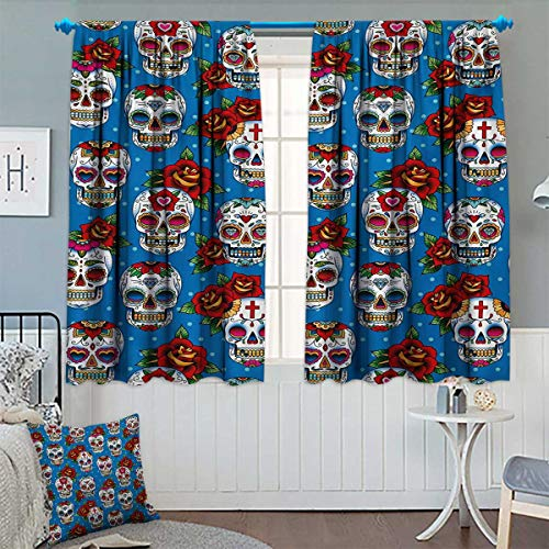 Chaneyhouse Sugar Skull Window Curtain Drape Retro Style Mexican Cultural Pattern on Polka Dots Rose Bouquets Skeletons Decorative Curtains for Living Room 63