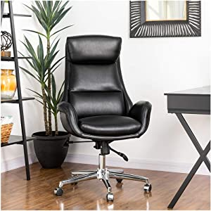 Glitzhome Mid-Century Modern Air Leatherette Adjustable Swivel High Back Office Chair, Black
